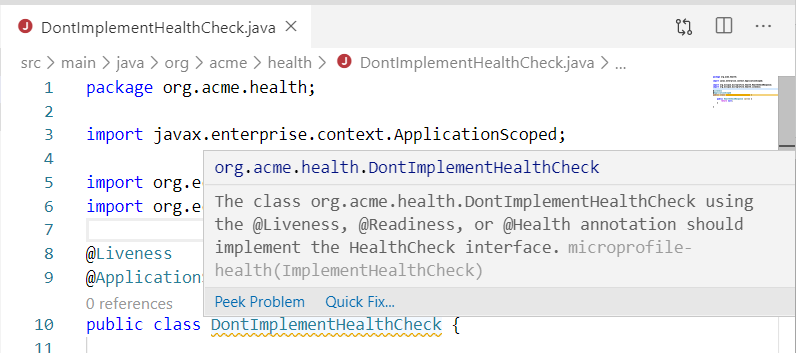 MicroProfile Health Java diagnostics support