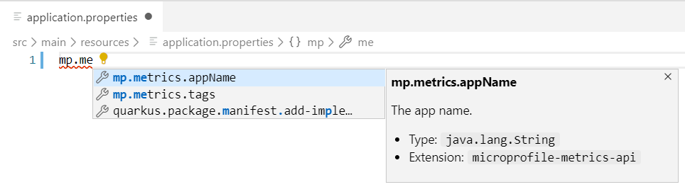 MicroProfile Metrics properties support