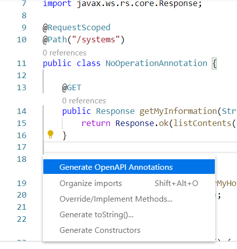 MicroProfile Open API Java code action support