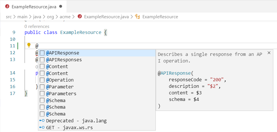 MicroProfile Open API Java snippets support