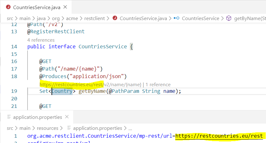 MicroProfile Rest Client Java Code Lens support